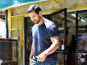 John Abraham snapped with his dog post visiting a Veterinary clinic in Bandra