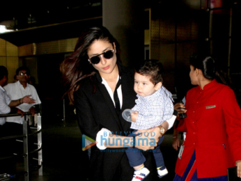 Kareena Kapoor Khan and baby Taimur Ali Khan snapped as they arrive from Delhi