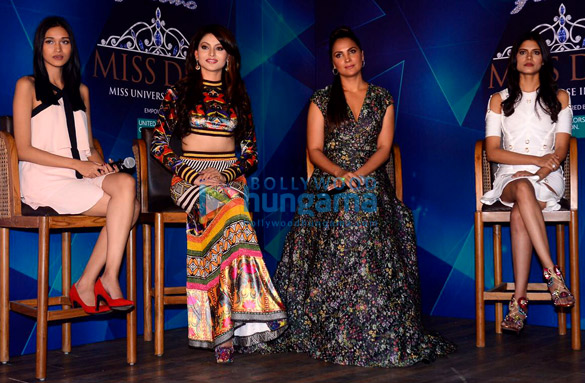 Lara Dutta and Urvashi Rautela attend the Yamaha Fascino Miss Diva 2017 Bloggers Meet
