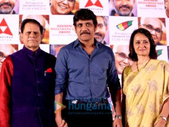 Nagarjuna and Amala Akkineni at Akkineni Nageswara Rao award press meet