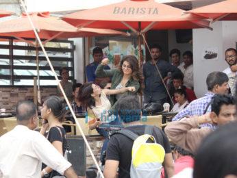 Urvashi Rautela snapped at a shoot in Bandra