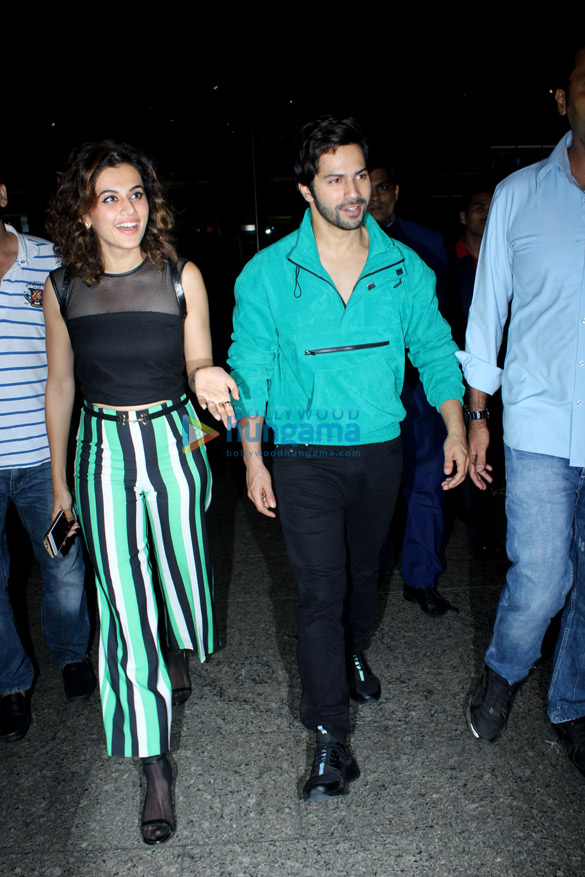 Varun Dhawan, Abhishek Bachchan and Taapsee Pannu snapped at the airport