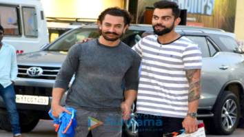 Aamir Khan and Virat Kohli snapped on the sets of a chat show to promote Secret Superstar