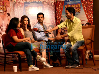 Cast of Shaadi Mein Zaroor Aana snapped interacting with the media