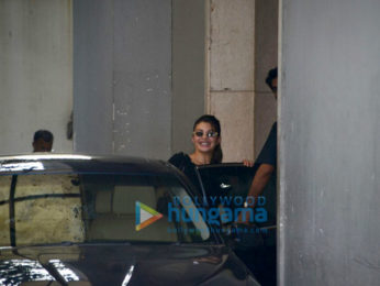 Jacqueline Fernandez snapped outside Race 3 producer Ramesh Taurani's office