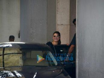 Jacqueline Fernandez snapped outside Race 3 producer Ramesh Taurani's office