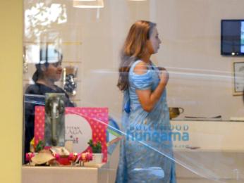 Iulia Vantur snapped trying outfit at Masaba Gupta's store
