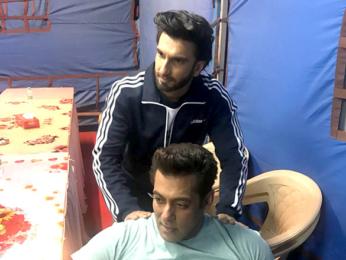 Ranveer Singh gives shoulder massage to Salman Khan on Race 3 sets