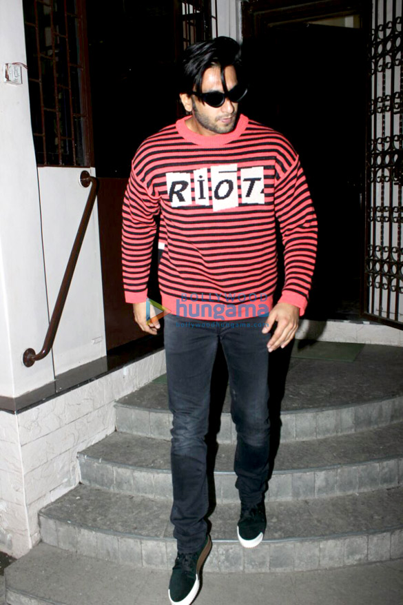 Ranveer Singh snapped outside a dubbing studio