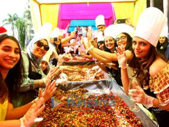 Roshni Chopra, Rouble Nagi, Vahbiz Mehta, Delna Poonawala attend the cake mixing ritual at St Regis