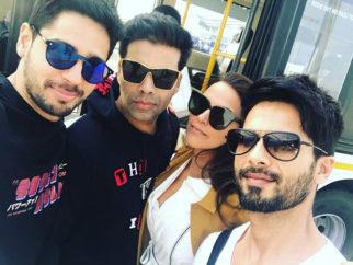 SELFIE ALERT Karan Johar, Shahid Kapoor, Sidharth Malhotra and Neha Dhupia are a 'sunglass' gang