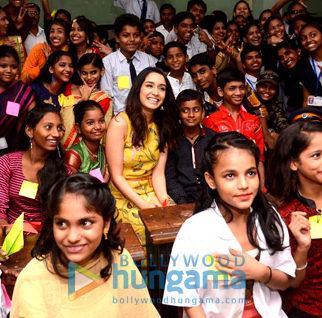 Shraddha Kapoor visits a municipal school in Prabhadevi, Mumbai