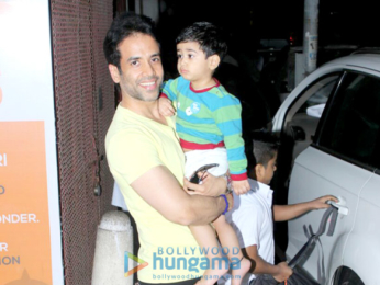 Tusshar Kapoor snapped with his son Laksshya outside the gym