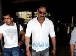 Ajay Devgn, Arbaaz Khan and Sharman Joshi snapped at the airport