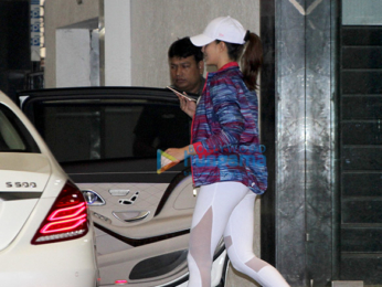 Jacqueline Fernandez snapped outside the gym