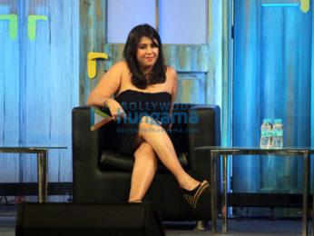 Karan Johar interacts with Ekta Kapoor and Smirit Irani for 'NDTV - We The People'
