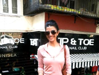 Nimrat Kaur snapped at Tip & Toe in Bandra