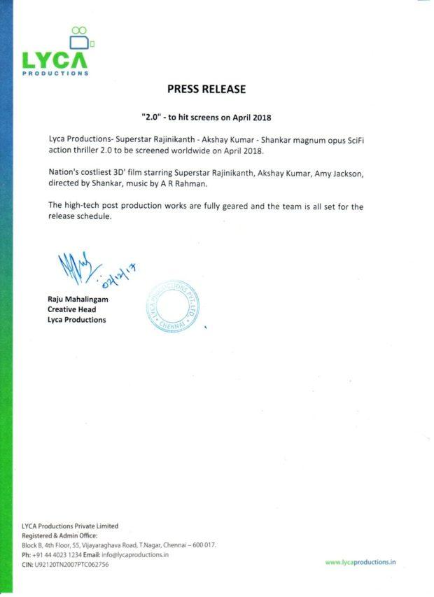 Rajinikanth, Akshay Kumar starrer 2.0 to release
