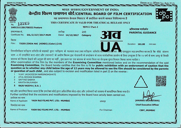 Tiger Zinda Hai cleared by the Censor Board with 'UA' certificate