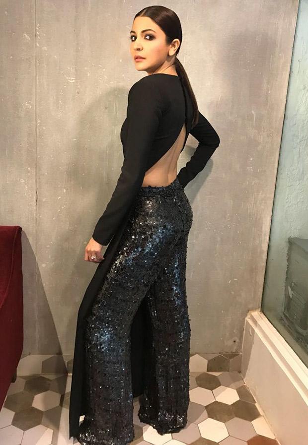 Anushka Sharma in a Nikhil Thampi ensemble for Pari promotions