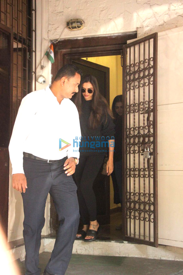 Deepika Padukone snapped at a recording studio in Bandra