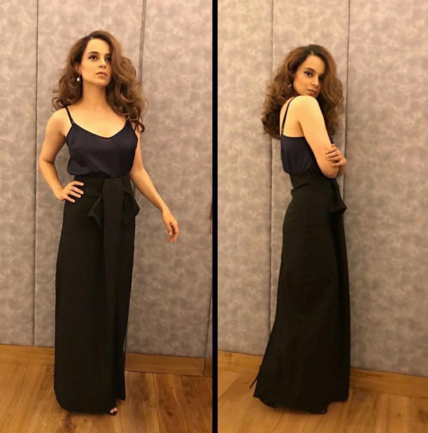 Kangana Ranaut in a silk cami top from Shift by Nimish Shah