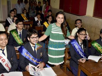 Rani Mukerji launches the song 'Oye Hichki' from Hichki at her alma mater Maneckji Cooper in Mumbai