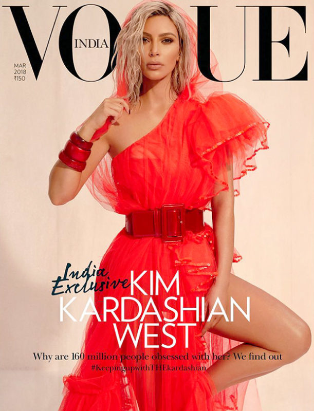 Red Alert – Kim Kardashian in a Jean Paul Gaultier saree inspired gown for Vogue India
