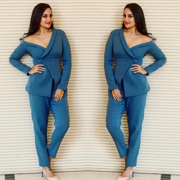 Sonakshi Sinha in a Lavish Alice pantsuit for Welcome to New York Promotions