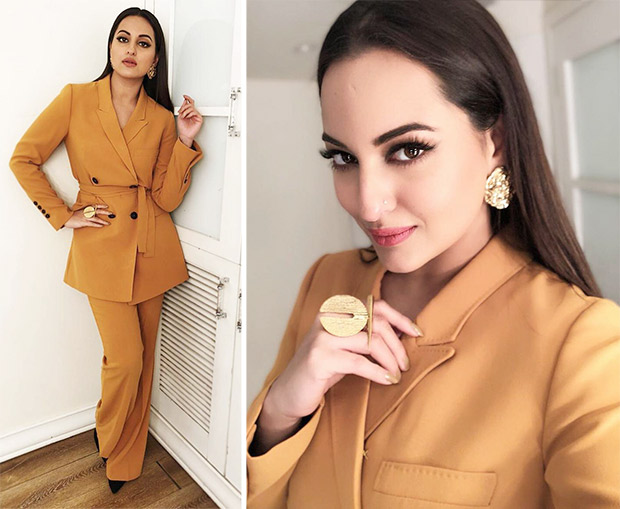 Sonakshi Sinha in a Zara pantsuit for Welcome to New York Promotions