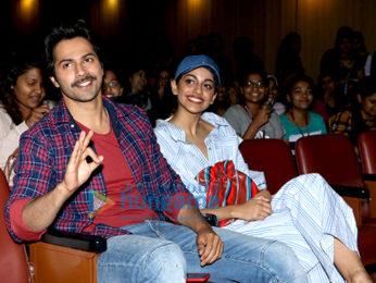 Varun Dhawan and Banita Sandhu snapped promoting their film 'October' at Sophia College