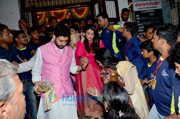 Aishwarya Rai Bachchan and Abhishek Bachchan during Ganesh Chaturthi