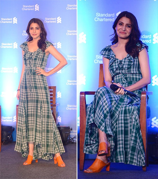 Anushka Sharma in a plaid dress for an event in Delhi