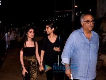 Boney Kapoor, Khushi Kapoor and Ishaan Khatter snapped post a movie screening