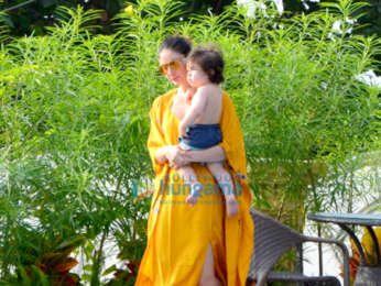 Kareena Kapoor Khan, Saif Ali Khan and Taimur snapped by the pool side at Amrita Arora's residence