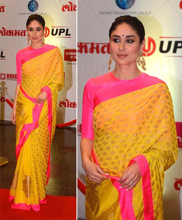 Kareena Kapoor Khan in Masaba Gupta sari for Lokmat Awards 2018