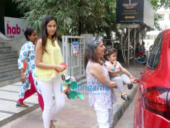 Mira Rajput snapped with Misha and her grandmother at a play school in Bandra