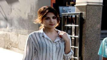 Rhea Chakraborty snapped at Ramesh Taurani's office