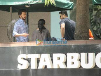 Ritesh Deshmukh and Aftab Shivdasini spotted at Starbucks in Khar