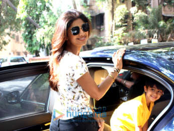 Shilpa Shetty snapped with her son at his school in Juhu