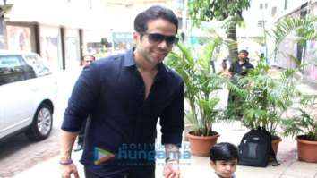 Tusshar Kapoor snapped with his son Laksshya in Bandra