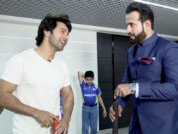Varun Dhawan plays cricket with Irfan Pathan at Star Sports Show Kent Cricket Live
