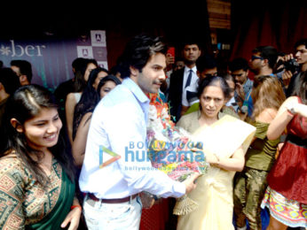 Varun Dhawan snapped promoting October at a college in Delhi