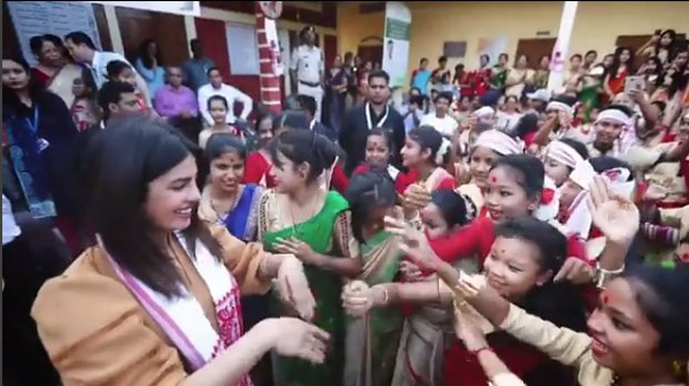 WATCH: Priyanka Chopra tries Bihu dance with local girls during her visit to Assam