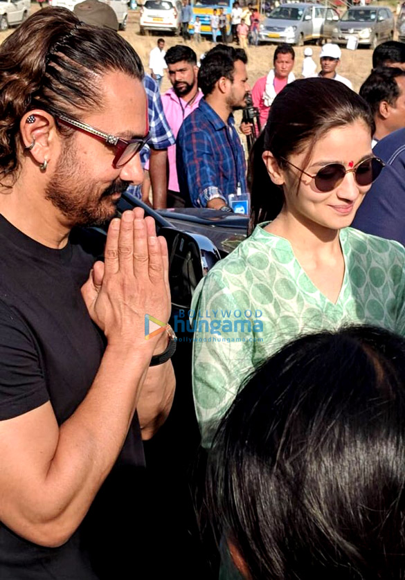 Aamir Khan and Alia Bhatt snapped in Latur for Paani Foundation