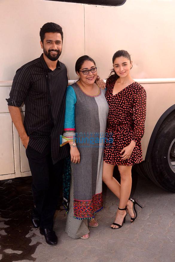 Alia Bhatt, Vicky Kaushal and Meghna Gulzar snapped promoting their film Raazi