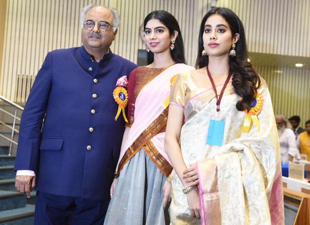 Image result for jhanvi kapoor receiving award with dad boney kapoor