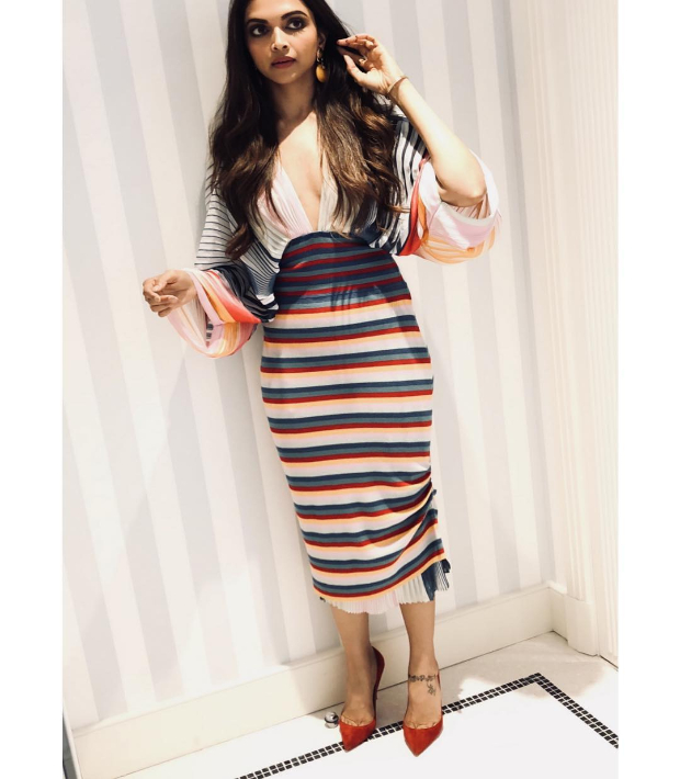 Deepika Padukone in a striped number on Day 1 of Cannes 2018