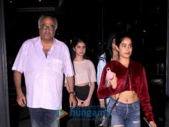 Jahnvi Kapoor and Khushi Kapoor spotted with Boney Kapoor at Yuatcha , Mumbai