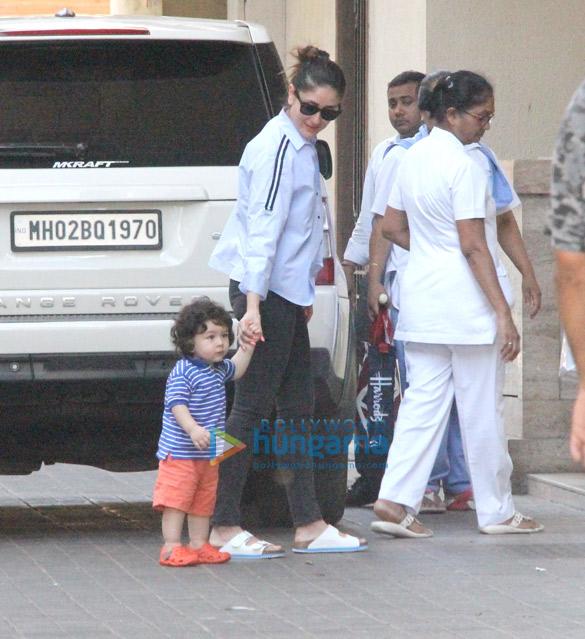 Kareena Kapoor Khan and Taimur Ali Khan snapped at Amrita Arora's house